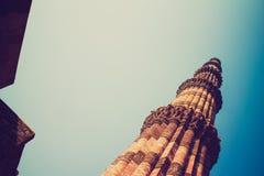 Qutub minar, Delhi - retro styl Obrazy Royalty Free