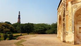 Qutub Minar Deli India fotos de stock royalty free