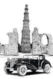 Qutub Minar et illustration de vecteur de voiture de vintage - New Delhi, Ind Image libre de droits