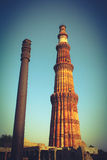 Qutub minar with iron pillar Stock Photos