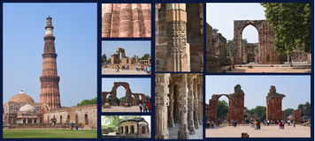Qutub Minar komplex - den mest högväxta minaret i Indien Arkivfoton