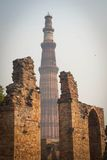 Qutub Minar outside view. The famous monument of India, located in Delhi, capital of India royalty free stock image