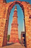 Qutub Minar. Qutab Minar is a soaring, 73 m-high tower of victory, built in 1193 by Qutab-ud-din Aibak immediately after the defeat of Delhi& x27;s last Hindu Royalty Free Stock Photos