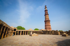 Qutub minar. The tallest brick tower in the world in india stock photography