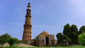 Qutub Minar Timelapse в Дели, Индии видеоматериал