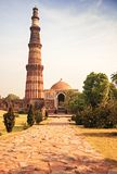 Qutub Minar Tower brick minaret in  Delhi India Royalty Free Stock Photos