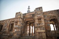Qutub Minar view from outside. The famous monument of India, located in Delhi, capital of India stock photo