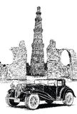 Qutub Minar and Vintage Car Vector Illustration - New Delhi, Ind Royalty Free Stock Image