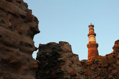 Qutub minar and walls Stock Photo