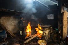 Quy Nhon, Vietnam - Oct 22, 2016: Seafood processing at fish market in Quy Nhon, south Vietnam. Fresh fish or shrimp boiling on bi Stock Photos