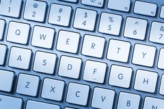 QWERTY-de sleutels op computer tikken dicht omhoog in Royalty-vrije Stock Fotografie