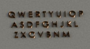 Qwerty Keypad in Gold. Qwerty style keypad in 3D form with dark golden color font and reflection on ground Stock Photography