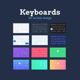 QWERTY mobile keyboards in different colors and styles. Stock Photography