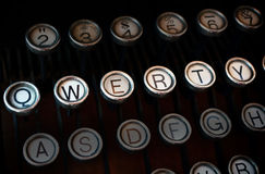Qwerty typewriter. Shot of old fashioned typewriter keyboard with emphasis on the QWERTY letters Stock Photo