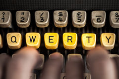 Qwerty. Word qwerty on the old typewriter Stock Images