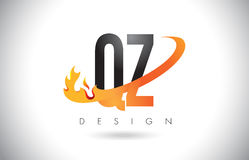 QZ Q Z Letter Logo with Fire Flames Design and Orange Swoosh. QZ Q Z Letter Logo Design with Fire Flames and Orange Swoosh Vector Illustration Stock Photos