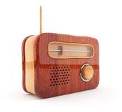 Rádio de madeira 3D. Estilo retro. No fundo branco Imagens de Stock Royalty Free