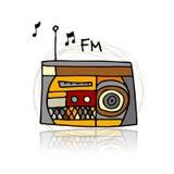 Rádio do vintage, esboço para seu projeto Fotografia de Stock
