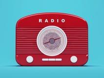 Rádio retro vermelho que está no fundo azul Imagem de Stock Royalty Free