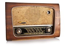 Rádio velho no fundo branco Foto de Stock Royalty Free