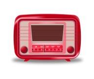 Rádio vermelho velho no fundo branco Imagens de Stock Royalty Free