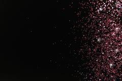 Różana złocista błyskotliwość na czarnym tle, odgórny widok fotografia royalty free