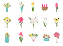 Róże, stokrotka bukiet i egzot rośliny Wektorowi, ilustracja wektor