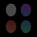 Różne nowożytne gradientowe odcisk palca ikony Ustawiają, Przyszłościowy Tożsamościowy autoryzacja system Wektorowa ilustracja od ilustracja wektor