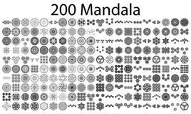 Różnorodne mandala kolekcje - 200 ilustracja wektor