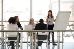 Różnorodni biznesmeni siedzi w sala posiedzeń dyskutuje słuchającego potomstwo trenera obrazy royalty free