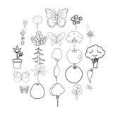 Różnorodność flor ikony ustawiać, konturu styl ilustracja wektor