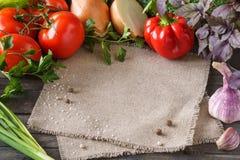 Różnorodny świeży surowych warzyw ramowy tło z przestrzenią fotografia stock