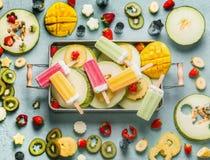 Różnorodny kolorowy popsicle lody, świeże owoc i jagody w tacy, odgórny widok Lata jedzenie horyzontalny zdjęcia royalty free
