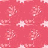 Różowy bezszwowy wzór z ślicznymi kwiatami dla dzieciaków, dzieci, dzieci ilustracji