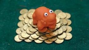 A rã do dinheiro rã vermelha no verde Foto de Stock Royalty Free