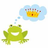 Rã do príncipe ou da princesa que sonha sobre o vetor da coroa no fundo branco Imagens de Stock