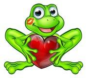 Rã dos desenhos animados com coração do beijo e do amor Fotografia de Stock