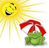 Rã dos desenhos animados com para-sol e sol Imagem de Stock Royalty Free
