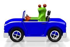 rã dos desenhos animados 3D e um carro ilustração stock