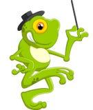 Rã dos desenhos animados que guarda a varinha mágica Fotografia de Stock Royalty Free