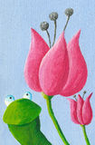 Rã e tulipas engraçadas Foto de Stock Royalty Free