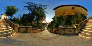 Rà ¡ kà ³在日落的czi台阶在Târgu MureÈ™,罗马尼亚 库存图片