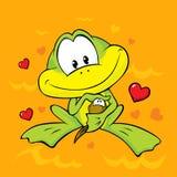 A rã realiza em seus braços um tadpole pequeno ilustração stock
