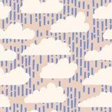 Ręka rysująca wektorowa podeszczowej chmury ilustracja deseniowy target668_0_ bezszwowy ilustracja wektor
