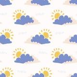 Ręka rysująca wektoru słońca i chmury ilustracja deseniowy target668_0_ bezszwowy ilustracji