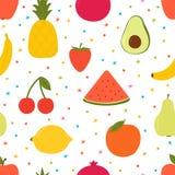 Ręka rysujący bezszwowy wzór z kreskówek owoc Kreatywnie modny tło nowożytna elegancka tekstura Wielki dla tkaniny, tkanina, zdjęcia royalty free
