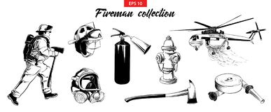Ręka rysujący nakreślenie set strażak, gasidło, hydrant, helikopter, maska gazowa, firehose ilustracji