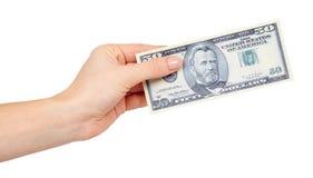 Ręka z USA dolarami, pojęciem łapówki i korupcją, obraz stock