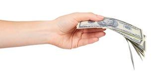 Ręka z USA dolarami, pojęciem łapówki i korupcją, fotografia stock