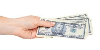 Ręka z USA dolarami, pojęciem łapówki i korupcją, zdjęcia stock